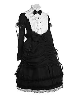 Egyrészes/Ruhák Klasszikus és hagyományos Lolita Vintage-inspirált Cosplay Lolita ruhák Fekete Régies (Vintage) Hosszú ujj Közepes hossz
