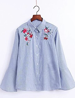 Women's Embroidery Going out Casual/Daily Sexy Simple Street chic Spring Fall Shirt,Striped Floral Embroidered Shirt Collar Long Sleeve Cotton Medium