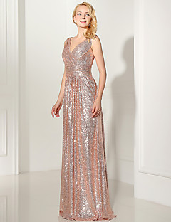 Formal Evening Dress - Sparkle & Shine Trumpet / Mermaid V-neck Floor-length Sequined with Sequins