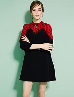 Damen Hemd Kleid-Lässig/Alltäglich Niedlich Punkt Rundhalsausschnitt Übers Knie ¾-Arm Schwarz Polyester Frühling Herbst Mittlere Hüfthöhe