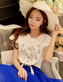 T-shirt Da donna Per uscire Casual Vacanze Boho Punk & Gotico Sofisticato Estate,Con stampe Monocolore Rotonda Cotone ElasteneManica