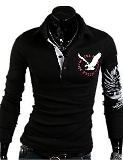 남성 프린트 셔츠 카라 긴 소매 티셔츠,심플 스트리트 쉬크 펑크 & 고딕 클럽 데이트 캐쥬얼/데일리 레드 화이트 블랙 면 스판덱스 사계절