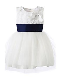 Girl White Satin Soutache Wedding Dress With Flower