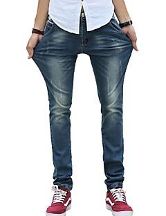 Masculino Delgado Jeans Calças-Cor Única Casual Simples Cintura Média Botão Algodão Poliéster Micro-Elástico Todas as Estações
