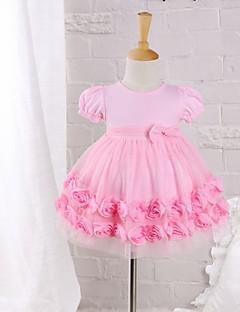 bebê Vestido,Casual Cor Única Algodão Náilon Verão Rosa