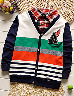 Boy's Going out Casual/Daily Sports Striped Patchwork Sweater Shirt Blouse Cotton Spring Fall Long Sleeve Regular Children's Garments