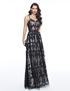 TS Couture Formal Evening Dress - Beautiful Back Celebrity Style Sheath / Column Spaghetti Straps Floor-length Tulle withBeading Lace