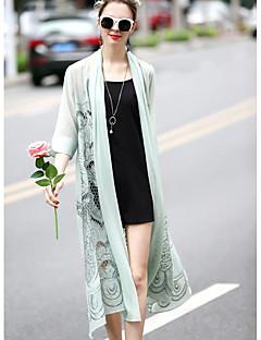 3/4 ærmelængde Smoking revers Damer Lang Ensfarvet Forår Sommer Sødt I-byen-tøj Cloak / Capes,Polyester