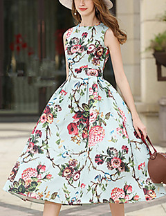 Women's Going out Casual/Daily Simple Cute Sheath Dress,Floral Round Neck Midi Sleeveless Polyester Spring Summer Mid Rise Inelastic