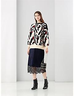 Damen Standard Pullover-Ausgehen Retro Einfach Druck Mehrfarbig Rundhalsausschnitt Langarm Polyester Frühling Winter Mittel