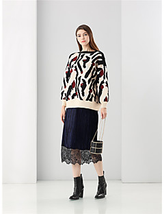Damer Vintage Simpel I-byen-tøj Normal Pullover Trykt mønster,Flerfarvet Rund hals Langærmet Polyester Forår Vinter Medium Mikroelastisk