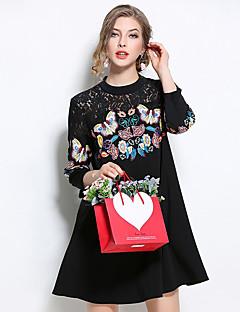 קיץ פוליאסטר שחור אורך שרוול ¾ עד הברך צווארון עגול הדפס חיות וינטאג' סגנון סיני יום יומי\קז'ואל שמלה משוחרר נשים,גיזרה גבוההסטרצ'י
