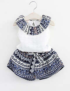 Girl Casual/Daily Print Patchwork Sets,Rayon Polyester Summer Sleeveless Clothing Set