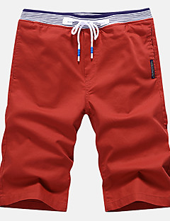 Men's Plus Size Slim Chinos Shorts Pants,Casual/Daily Beach Sports Simple Street chic Active Solid Low Rise Drawstring Cotton Polyester