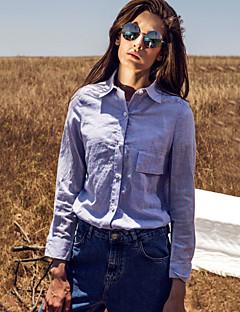 На выход Весна Осень Рубашка Рубашечный воротник,Уличный стиль Полоски Синий Длинный рукав,Хлопок,Средняя