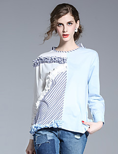 FRMZ Women's Going out Simple Spring Summer ShirtStriped Round Neck Long Sleeve Blue Cotton