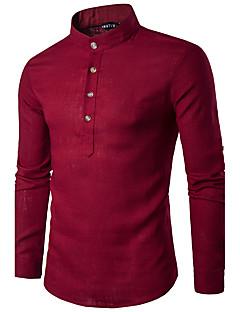 Мужчины На каждый день Весна Осень Рубашка Воротник-стойка,Простое Однотонный Розовый Белый Серый Длинный рукав,Хлопок,Средняя