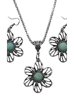 Jewelry 1 Necklace 1 Pair of Earrings Jewelry set Turquoise Vintage Daily Alloy 1set Green Wedding Gifts