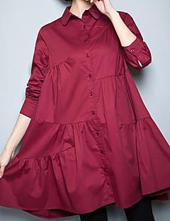 Alla årstider Sommar Enfärgad Långärmad Ledigt/vardag Arbete Plusstorlek Skjorta,Vintage Enkel Kineseri Dam Tröjkrage Särskilda lädertyper