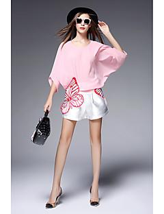 2016 merkki perhonen kirjonta löysä bat hiha sifonki paita pusero + valkoiset shortsit pala asennetaan