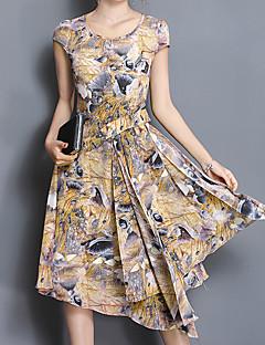 קיץ אחרים אורך חצי שרוול א-סימטרי צווארון עגול משובץ פשוטה סגנון רחוב סגנון סיני ליציאה יום יומי\קז'ואל מידות גדולות שמלה ישרה נשים,גיזרה