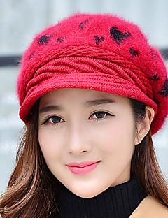 ženy tkaný broskev srdce králík tištěný ski venkovní úplet ročník příležitostné klobouk