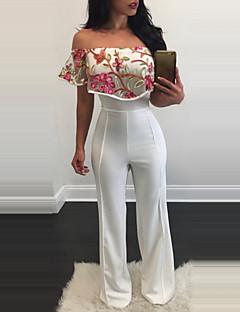 Spodnie szerokie nogawki Kombinezon-Vintage Seksowna Klubowa Codzienne Nadruk-Haft Siateczka Bateau Krótki rękaw Wysoki stan Polyester