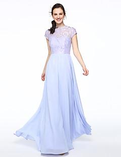 Lanting Bride® Na zem Šifón Krajka Elegantní Šaty pro družičky - A-Linie Klenot s Krajka Sklady