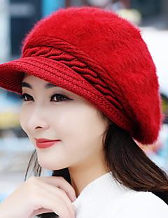 Herbst und Winter Mädchen Kaninchenhaar Mode reine Farbe Barette warme gestrickte Wolle Baseballmütze