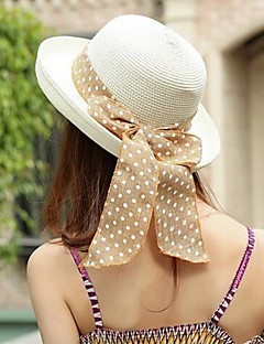 Women Straw Sun Hat Beach Bucket Hat Bowknot Casual Summer