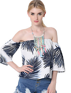 Casual/Daily Beach Holiday Sexy Simple Summer T-shirt,Color Block Boat Neck ½ Length Sleeve Blue White Cotton Rayon Thin