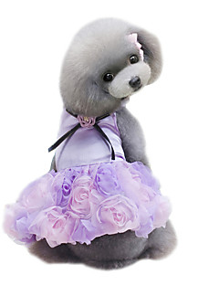 Cães Vestidos Roupas para Cães Verão Flor Fofo Casamento Da Moda Cinzento Roxo Rosa claro