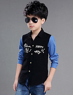 Boy Casual/Daily Print Patchwork Shirt,Cotton Spring Fall Long Sleeve Regular