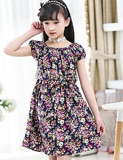 Pamut Virágos Nyár Rövidujjú Lány Ruha