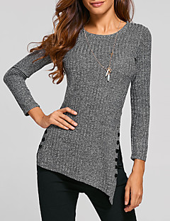 Women Going out Casual/Daily Simple Street chic Spring Fall All Match T-shirt Botton Solid Round Neck Long Sleeve Medium