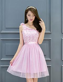 숏 / 미니 새틴 튤 우아한 신부 들러리 드레스 - A-라인 원 숄더 와 자수장식