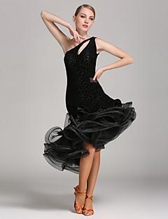 Latin Dansı Elbiseler Kadın's Performans Kadife 1 Parça Kolsuz Doğal Elbise
