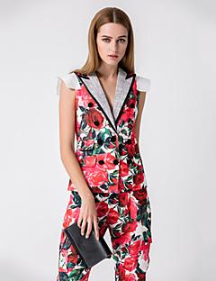 Damen Blumen Niedlich Ausgehen Lässig/Alltäglich T-Shirt-Ärmel Hose Anzüge,Tiefes V Riemengurte Sommer Ärmellos Polyester