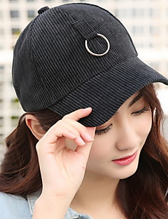Unisex Cotton Lady Solid Color Corduroy Metal Ring Travel Baseball Cap
