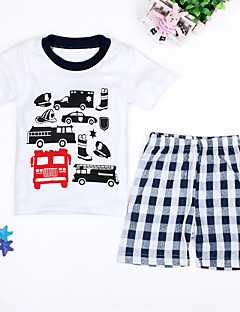 Casual/Daily Beach Holiday Print Check Sets,Cotton Polyester Summer Spring Short Sleeve Clothing Set