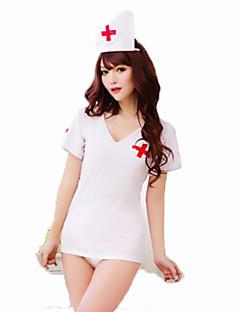 コスプレ衣装 看護師 イベント/ホリデー ハロウィーンコスチューム ホワイト ゼブラプリント カーニバル 女性用 ナイロン