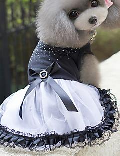 Gatos Cães Vestidos Roupas para Cães Verão Primavera/Outono Princesa Fofo Branco-Preto