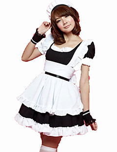 Cosplay Costumes Maid Costumes Festival/Holiday Halloween Costumes Pink Black Solid Carnival Female Cotton