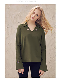 Women's Casual/Daily Simple Spring Fall Shirt,Solid Shirt Collar Long Sleeve White Green Cotton
