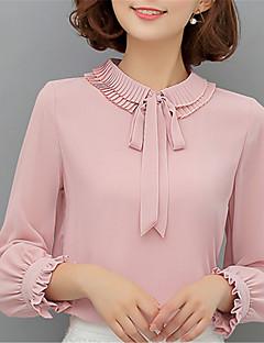 Feminino Blusa Para Noite Casual Trabalho Moda de Rua Primavera,Sólido Rosa Poliéster Gola Peter Pan Manga Longa Média