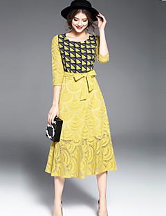 여성 스윙 드레스 데이트 정교한 디테일 컬러 블럭 체크무늬,라운드 넥 미디 ¾ 소매 면 폴리에스테르 봄 여름 중간 밑위 약간의 신축성 중간