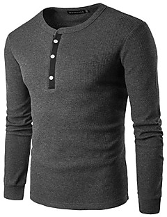 Men's Casual/Daily Simple Spring Fall T-shirt,Solid Round Neck Long Sleeve Blue White Beige Black Gray Rayon Medium