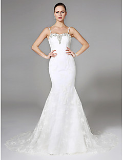 2017 Lanting Bride® Trumpet / Mermaid Wedding Dress - Chic & Modern Lacy Looks Court Train Spaghetti Straps Lace with Beading