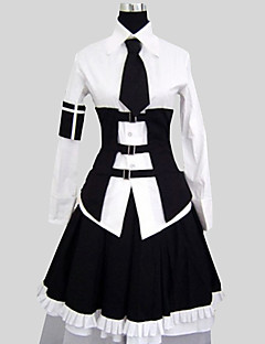 Outfits Gothic Lolita Vintage Inspired Cosplay Lolita Dress White Solid Long Sleeve Knee-length Shirt Skirt Collar For Women Cotton