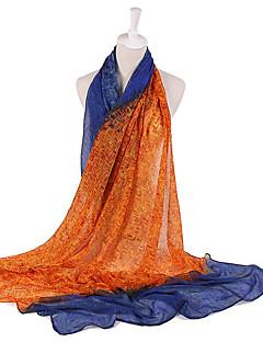 Skjerf Vintage Fest Fritid Damer Bomull Polyester,Rektangulær Trykt mønster Rød Grønn Blå Rosa Gul Oransje
